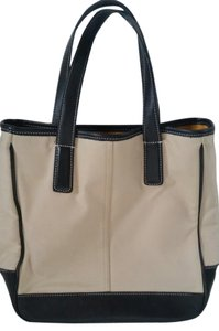 Coach Leather Tote in Tan Black