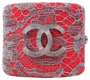 Chanel BRACELET - NEW - RED WIDE TWEED LACE BANGLE CUFF - SILVER CC 2014 14P