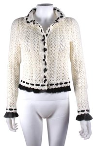 Chanel Cardigan Knit Tweed White Jacket