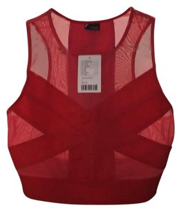 Urban Outfitters Mesh Crop Mesh Crop Top Red