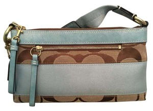 Coach Leather Bold Stripe Satin Khaki/Pale Blue Clutch