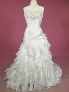 Alfred Angelo Ivory/Silver Organza 215 Formal Wedding Dress Size 14 (L)