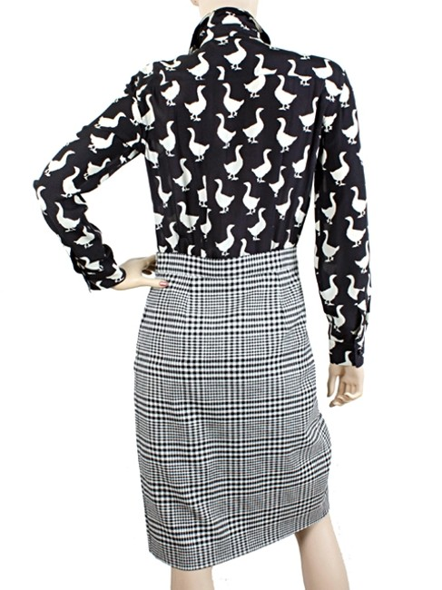 Moschino Print Duck Silk Wool Suit Checkered Plaid Striped Dress Image 4