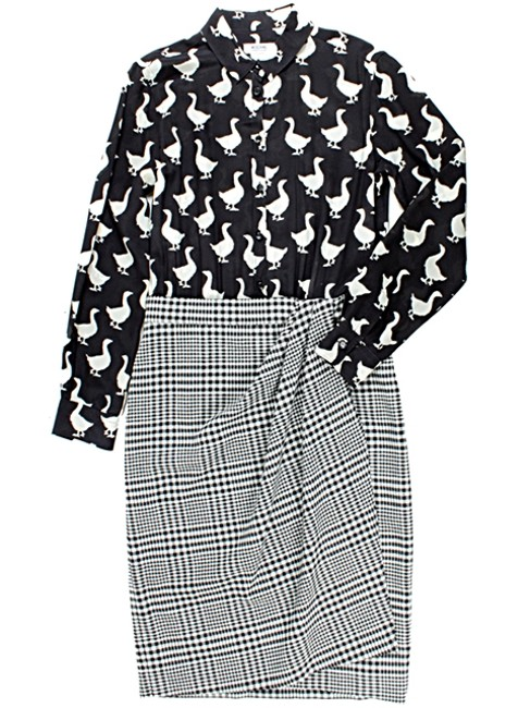 Moschino Print Duck Silk Wool Suit Checkered Plaid Striped Dress