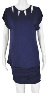 Laundry by Shelli Segal Fitted Cut Neckline Popover Gathered Dress