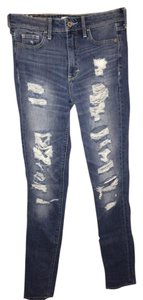Abercrombie & Fitch High Rise Distressed Skinny Jeans-Distressed