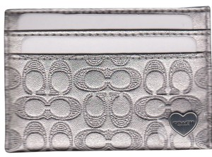Coach Coach Liquid Gloss Embossed Silver Metallic Card Case