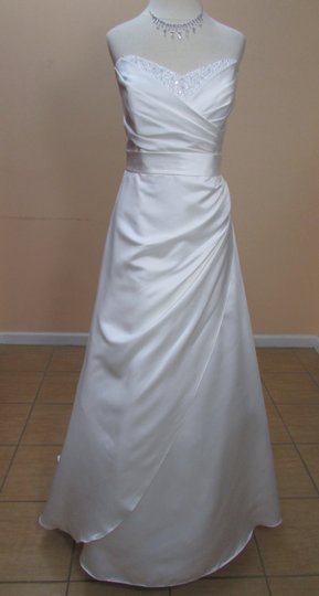 Alfred Angelo Ivory Satin 2200 Formal Wedding Dress Size 10 (M)