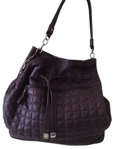 BCBGMAXAZRIA Leather Quilted Purple Shoulder Bag