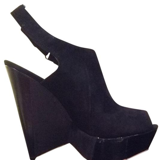 L.A.M.B. Black Suede Wedges