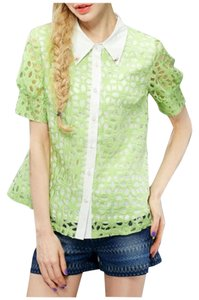 ELF SACK Half Sleeve Polyester Sweet Top Green & White