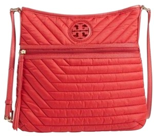 Tory Burch Nylon Quilted Crossbody New Tote in Red