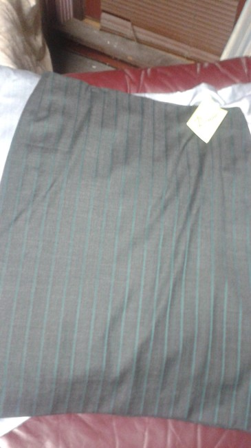 Item - Grey Wool with Lycra and Polyamide Striped Skirt Size 8 (M, 29, 30)