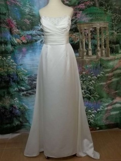 Alfred Angelo Ivory/Silver Faille 2201 Formal Wedding Dress Size 6 (S)