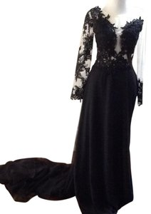 Black and Beige Maxi Dress by Gown Prom