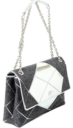 Roger Vivier Chain Mirror Geometric Piping Leather Wool Shoulder Bag