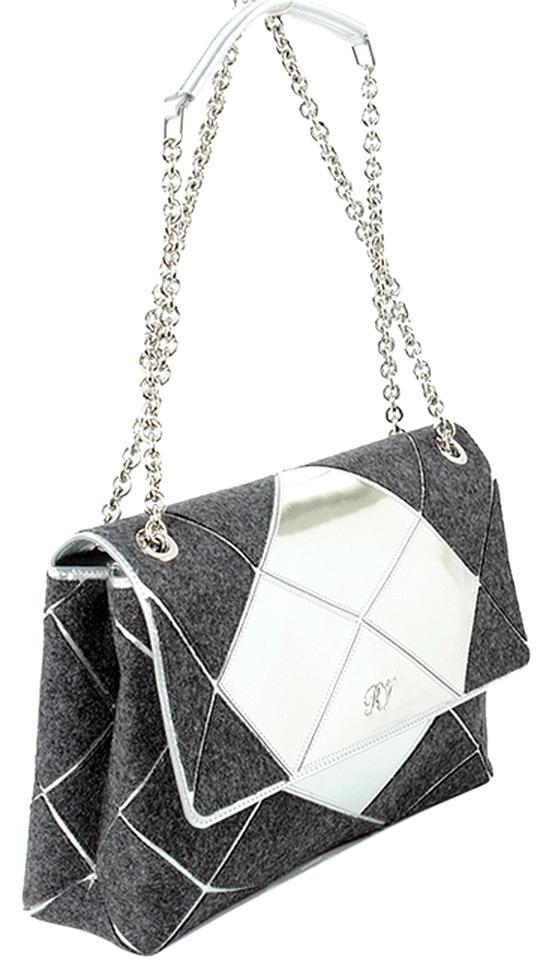 Roger Vivier Chain Mirror Geometric Piping Leather Wool Shoulder Bag Image  0 ... b2bffc8f73399