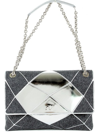 Roger Vivier Chain Mirror Geometric Piping Leather Wool Shoulder Bag Image 1