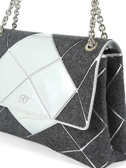 Roger Vivier Chain Mirror Geometric Piping Leather Wool Shoulder Bag Image 2