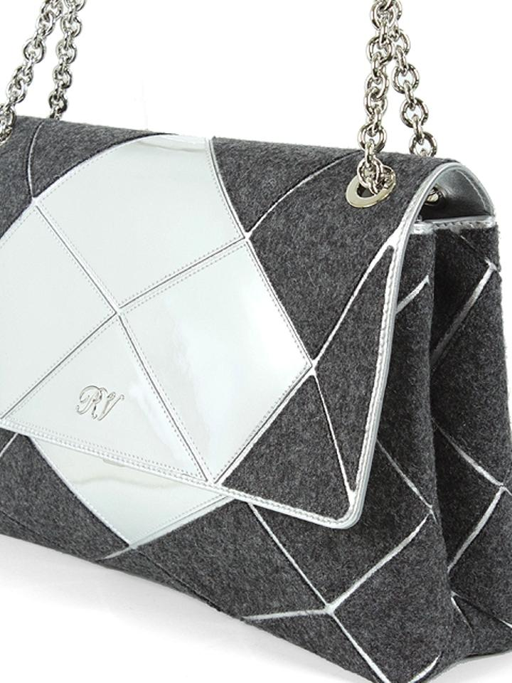 Roger Vivier Chain Mirror Geometric Piping Leather Wool Shoulder Bag Image  5. 123456 bdd55636e951e