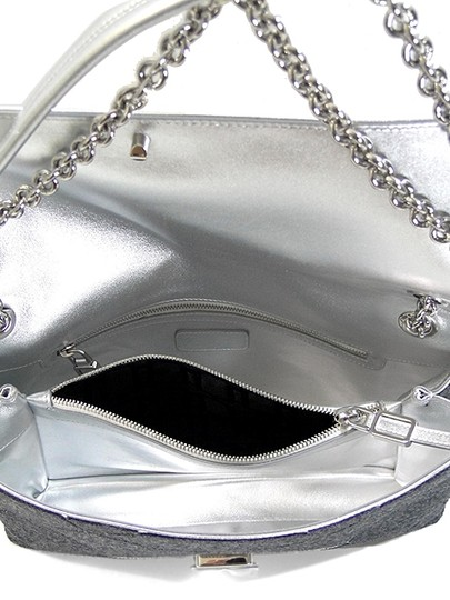 Roger Vivier Chain Mirror Geometric Piping Leather Wool Shoulder Bag Image 3