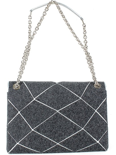 Roger Vivier Chain Mirror Geometric Piping Leather Wool Shoulder Bag Image 4