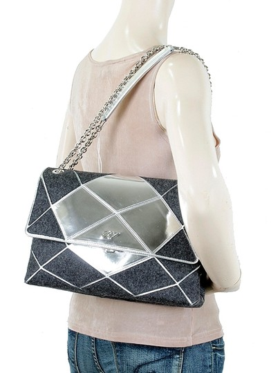 Roger Vivier Chain Mirror Geometric Piping Leather Wool Shoulder Bag Image 5