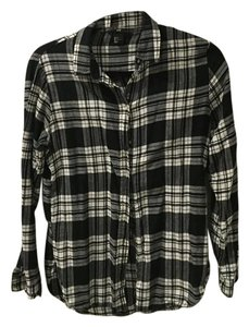 H&M Button Down Shirt Black and White Plaid Flannel
