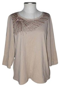 Chico's Beaded Top Tan