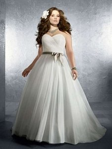 Alfred Angelo Ivory/Cafe Satin 2212 Formal Wedding Dress Size 18 (XL, Plus 0x)
