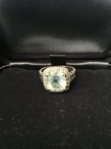 14 kt. White Gold Aquamarine 4.05 ct. and Diamonds Ring