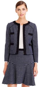 J.Crew Metallic Navy Stripe Tweed Jacket