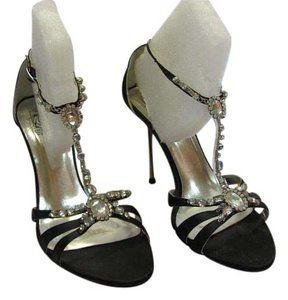 Special Occasions by Saugus Shoe New Size 6.50 M Rhinestones Excellent Condition Black, Silver, Formal