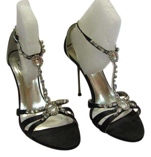 Item - Black Silver New M Rhinestones Excellent Condition Formal Shoes Size US 6.5 Regular (M, B)