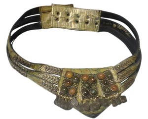 nina arjani green leather belt with metal and stones