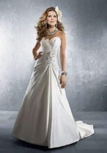 Alfred Angelo White Satin 2228 Formal Wedding Dress Size 8 (M)