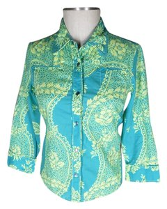 Odille Western Anthropologie Button Down Shirt turquoise