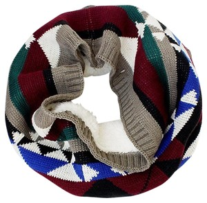 Geo Pattern Knit Tube Scarf w/Faux Fur Lining