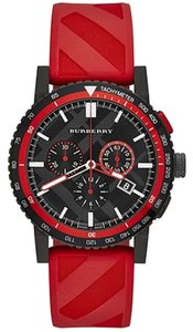 Burberry Burberry Watch, Unisex Swiss Chronograph The New City Sport Red Rubber Strap 42mm
