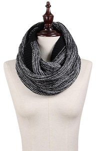 Other Black Chunky Marled Yarn Knitted Infinity Scarf
