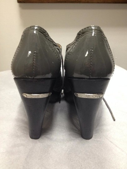 Michael Kors Patent Leather High Heel Gray Mules