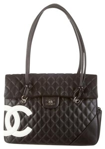 Chanel Quilted Leather Cambon Satchel in Black