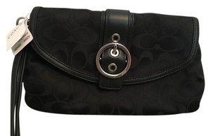 Coach Leather Canvas Satin Silver Hardware Black Clutch