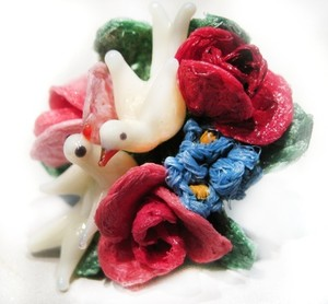 Multi Color Vtg Paris Rose Forget Me Not Bird Clip Back Earrings