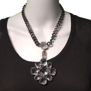 Lee Angel LEE ANGEL Brushed Silver Clear Crystal Flower Statement Necklace!