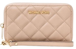 Michael Kors Jet Set Travel Large Flat MF phone Case Wallet Quilted Leather NWT