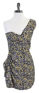 Parker short dress Blue & Yellow Silk One on Tradesy