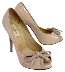 Valentino Nude Patent Leather Platform Pumps