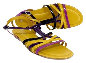 Tod's Purple & Yellow Patent Sandals