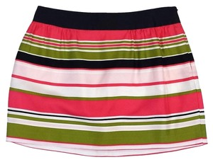 MILLY Pink Green Navy & White Striped Skirt